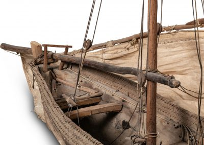 Detail of Model Boat with Sail and Rigging