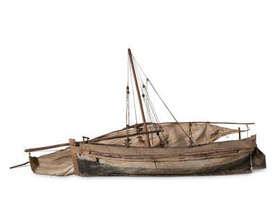 Model Boat with Sail and Rigging