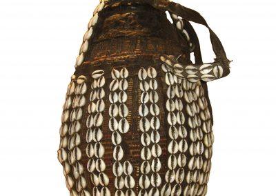 Cowrie decorated ceremonial milk vessel
